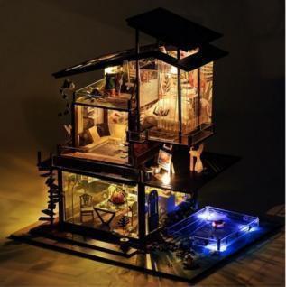 LED付 木製ドールハウス 手作りキット プライベー...