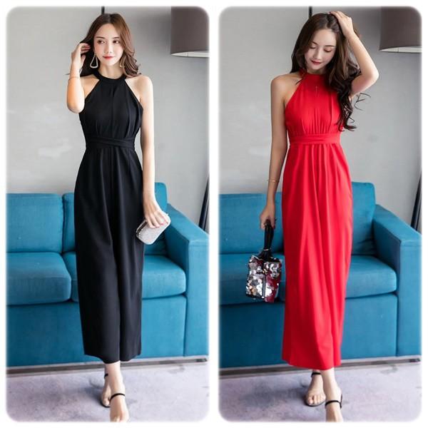 オールインワン サロペット ワイドパンツ レディース パンツドレス ファッション 赤 黒 オフィス 20代 30代 40