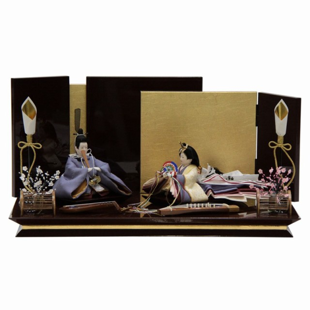 雛人形 親王平飾り 絵巻 裾長 紫 hn142 hs1475 月...