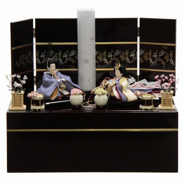 雛人形 親王収納飾り 絵巻 裾長 紫 hn142 hs1480 ...