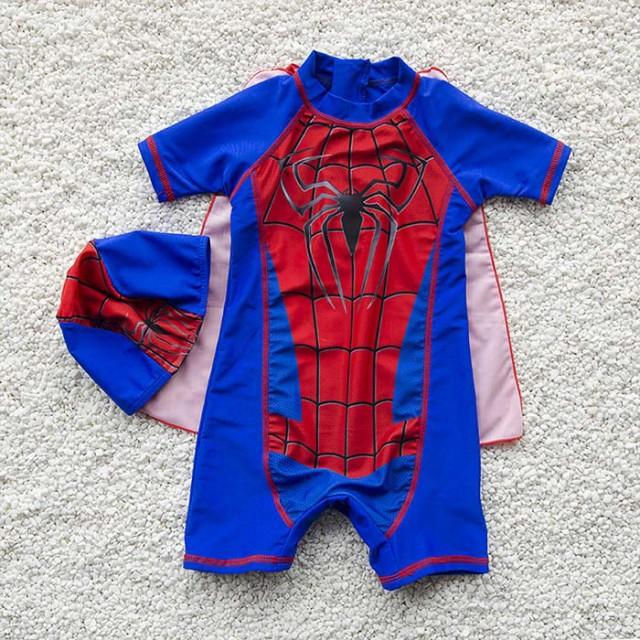 子ども水着 男の子 キッズ みずぎ 水着 スイムウェア スパイダーマン スイムキャップ 水泳帽子 連体水着 ベビー 練習用 スクール
