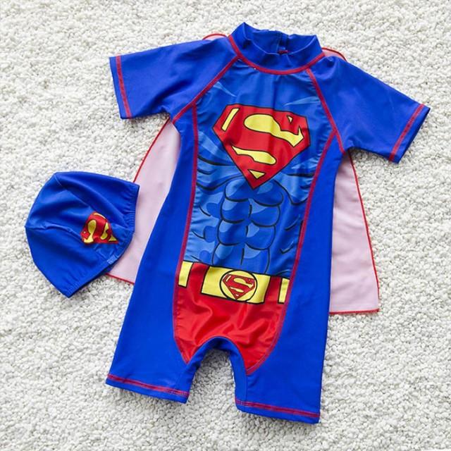 スーパーマン 子供 水着 男の子 かわいい スイムキャップ 水泳帽子 連体水着 ベビー ジュニア みずぎ オールインワン オーバーオール