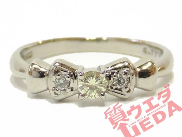 リング ダイヤモンド Pt900 指輪 リボン プラチナ...
