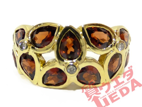 リング ガーネット ダイヤモンド K18 指輪 10.5号...