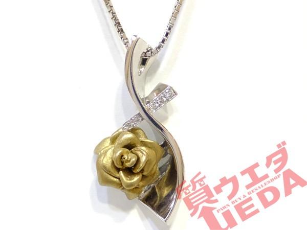 【JEWELRY】ネックレス K18 WG ホワイトゴールド ダイヤモンド 0.04ct バラモチーフ 約45cm ジュエリー