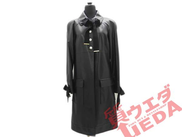 【CHANEL】ラムスキン コート 黒 リボン シャネ...