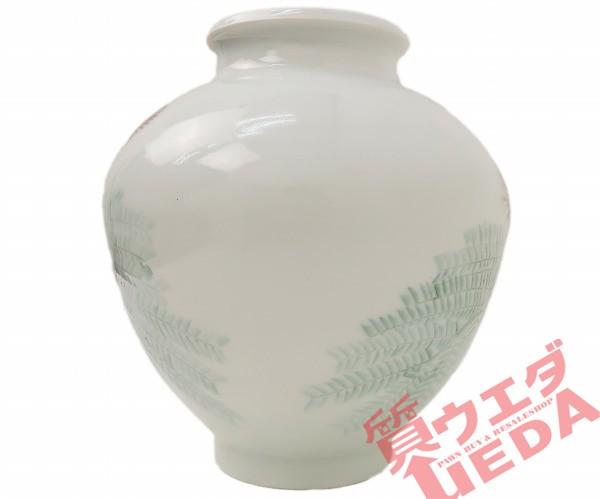 【花瓶】長尾 明理 花瓶 白 花柄 辰砂合歓の木文...