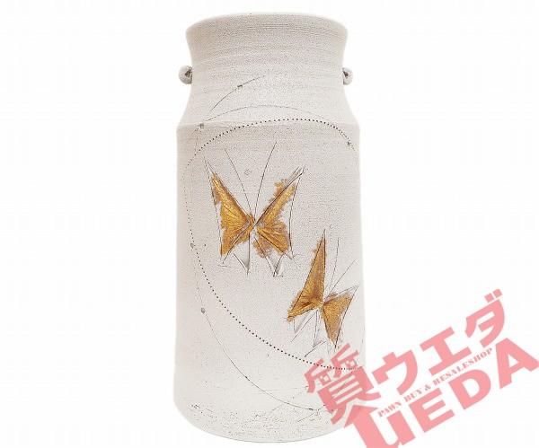 【花瓶】加藤 鈔(ショウ) 花器 グレー蝶柄入り 愛...