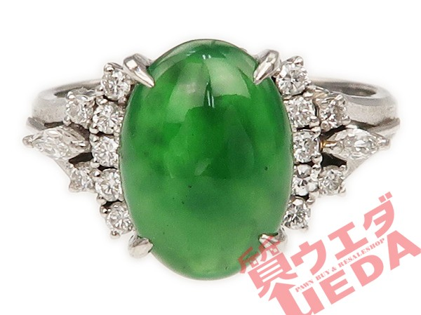 【JEWELRY】リング ヒスイ 翡翠 ダイヤ Pt900 プ...