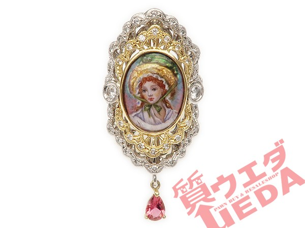 【名東】リング エマイユ ダイヤ ピンクトルマリ...