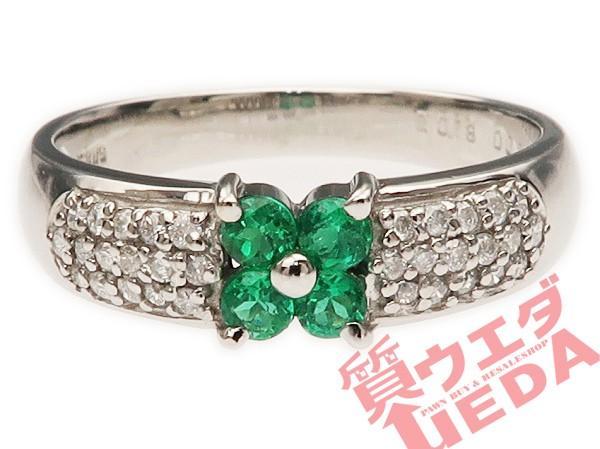 【名東】リング エメラルド ダイヤ K18WG ホワイ...