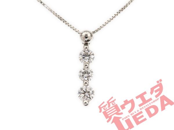 【名東】ネックレス トリロジー ダイヤ 3P Pt850 ...