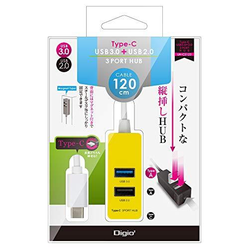 Digio 2 Type-C USB3.0+2.0 3ポートハブ 120cm イ...