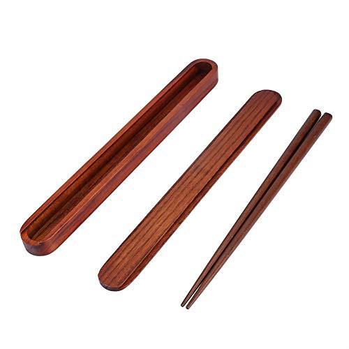 Gancon ポータブル木製の箸+プルアウト箸ボックス...
