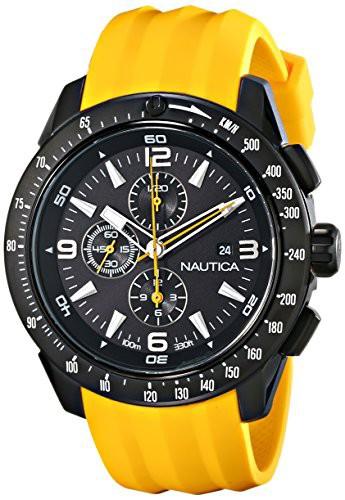 【当店1年保証】ノーティカNautica Men's N18599G NST 101 Stainless Steel Watch with Yellow Resin