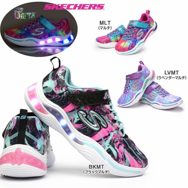 スケッチャーズ 光る靴 ガールズ 20203L エスライ...
