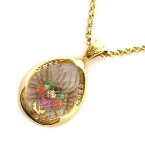 美品 ネックレス ペンダント 水晶 ダイアモンド ...