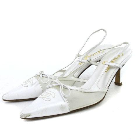 7d2fb21224d1 シャネル CHANEL サンダル ポインテッドトゥ レザー ココマーク ストラップ 白 ホワイト 36.5 靴 # ☆