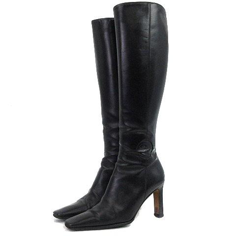 46d8eb54fdf0 シャネル CHANEL ロング ブーツ ココマーク ハイヒール レザー 黒 ブラック 36 1/2 シューズ 靴