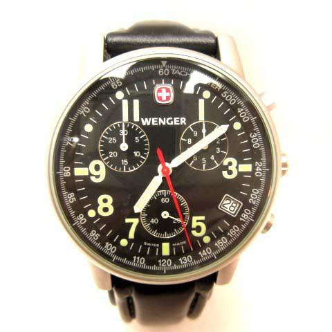 ウェンガー WENGER 腕時計 クオーツ クロノ 黒文...