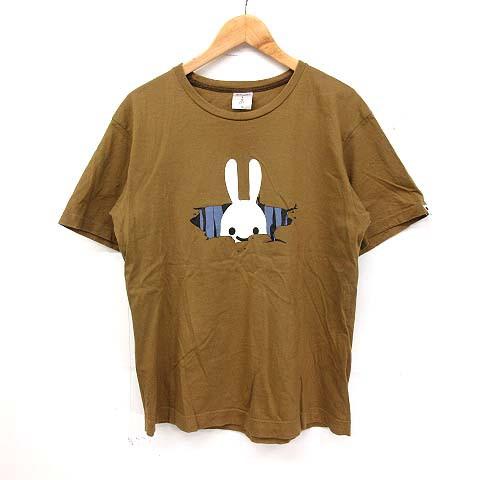 キューン CUNE Tシャツ 半袖 うさぎ プリント 茶 ...
