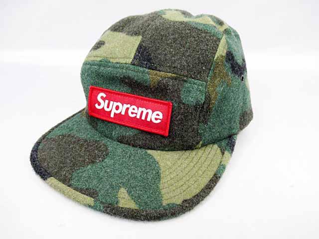 c8aa9990283 シュプリーム SUPREME 17AW Camo Wool Camp Cap BOXロゴ カモ キャンプキャップ帽子 ブランド古着