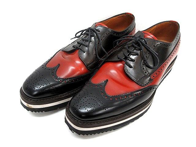 ea7f25e8d0cf プラダ PRADA ドレス シューズ ウイングチップ レザー サイズ 9 黒 赤 レースアップ 革靴 メンズ