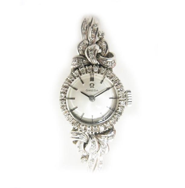 【中古】オメガ OMEGA ダイヤ付き 18K 腕時計 宝...