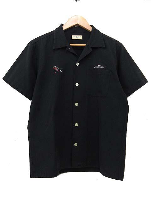 ラディアル RADIALL 13SS オープンカラー 開襟 シャツ 半袖 胸刺繍 トップス M 黒 ブラック S6054 メンズ ベクトル【中古】
