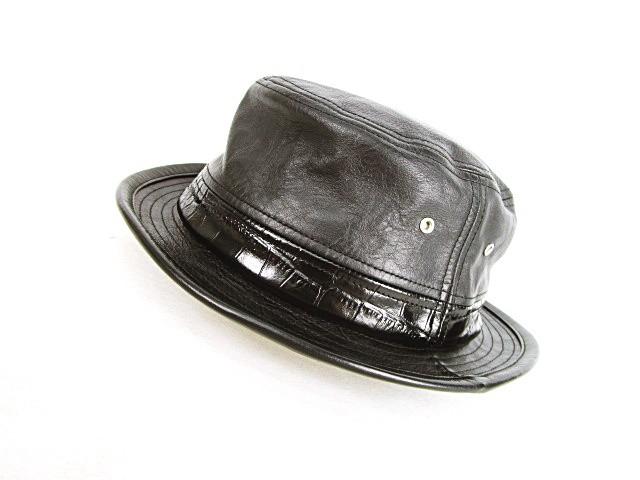 ポークパイハット 帽子 クロコ型押し 異素材切り...