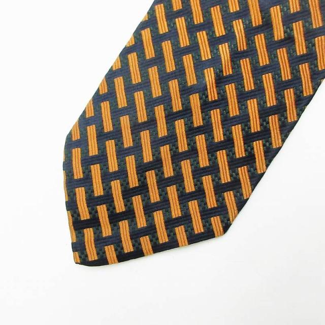 【中古】IKEDA 総柄 ネクタイ オレンジ メンズ