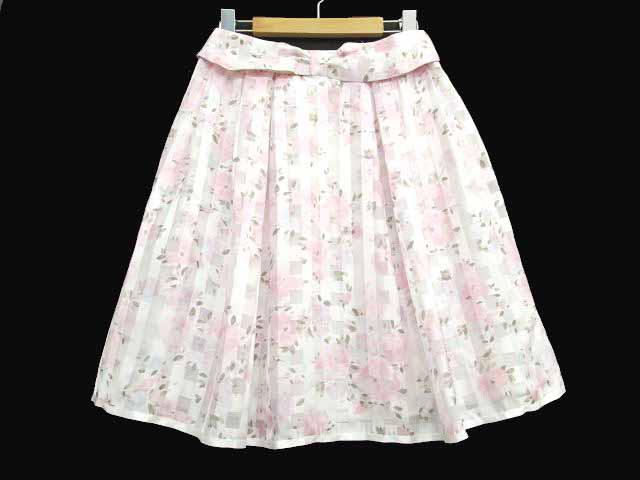 レストローズ L'EST ROSE スカート ひざ丈 プリー...