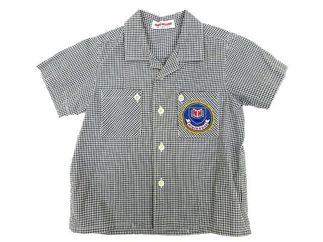 5fa28f8f9b98d ミキハウス mikihouse シャツ ギンガムチェック 開襟 半袖 トップス キッズ ベビー 80 胸ポケット 刺繍ロゴワッペン