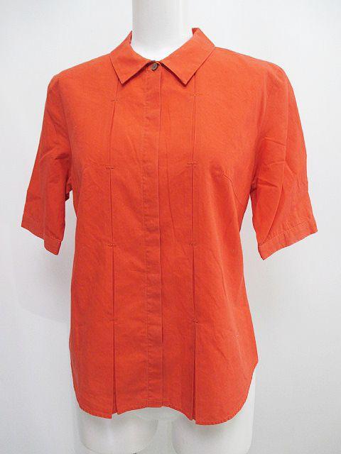 エル ELLE 半袖 シャツ 比翼ボタン 38 オレンジ系...