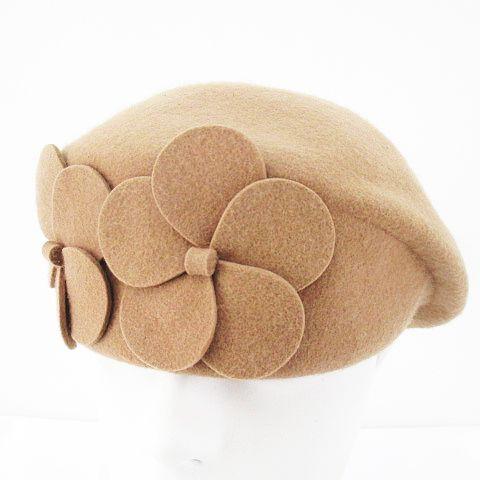 【中古】ベレー帽 立体モチーフ 57cm ベージュ系 ...