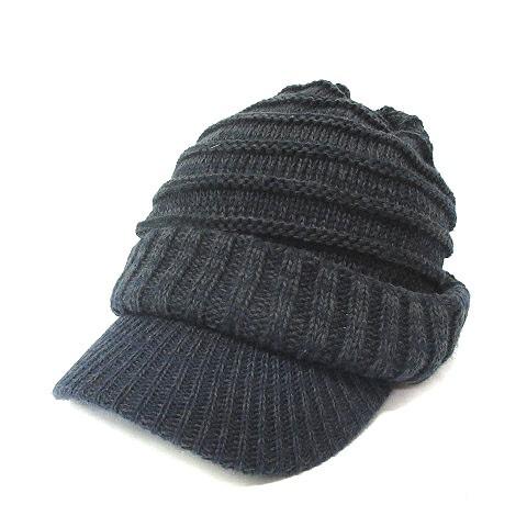 帽子 ニット帽 ワッチキャップ つば付き 無地 チ...