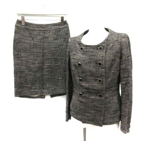 97a41d3babb6 セリーヌ CELINE スーツ セットアップ 上下 ジャケット スカート 36 38 黒 白 /TK □KRB レディース