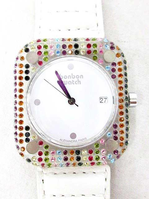 ボンボンウォッチ 腕時計 ホワイト レインボー ビ...