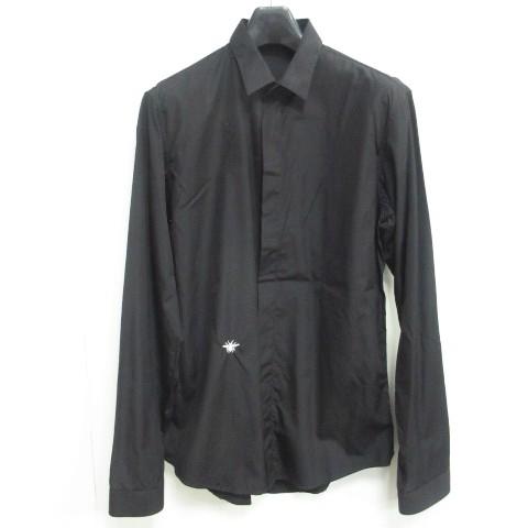new arrival 044cf d8d5d 【中古】ディオールオム Dior HOMME ドレスシャツ BEE 刺繍 スキニーカラー 無地 コットン ブラック 黒 380522 メンズ|au  Wowma!(ワウマ)