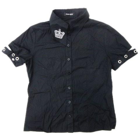 26f903fe0a734 ピースナウ PEACE NOW ドゥエボットーニ シャツ ブラウス ループ ハトメ 王冠 刺繍 半袖 黒 ブラック M トップス