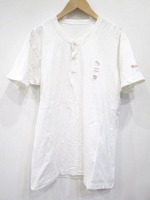 パパス Papas Tシャツ ヘンリーネック 半袖 白 S ...