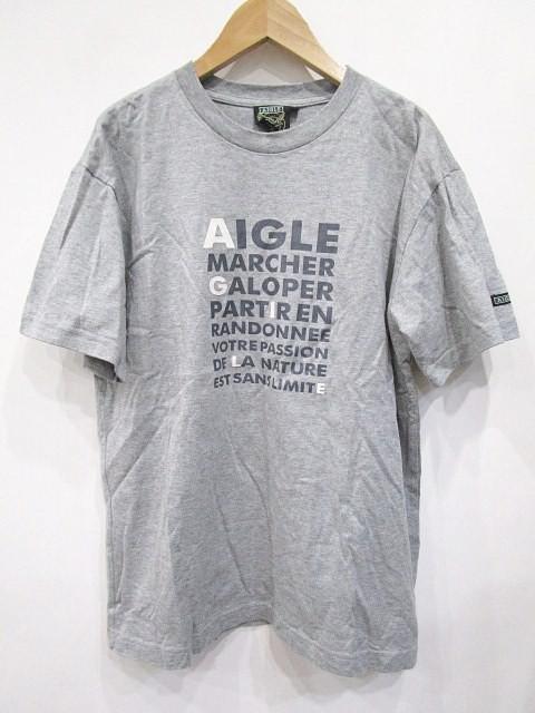 エーグル AIGLE Tシャツ 半袖 プリント M グレー ...