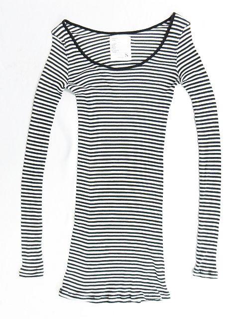 アールエヌエーエヌ RNA-N Tシャツ カットソー ボーダー Uネック リブ編み 長袖 黒 白 size M レディース