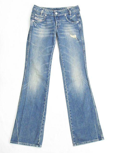 ディーゼル DIESEL RYOTH-N デニム パンツ ジーンズ ブーツカット ダメージ ウォッシュ 加工 インディゴ 青 size W25 レディース