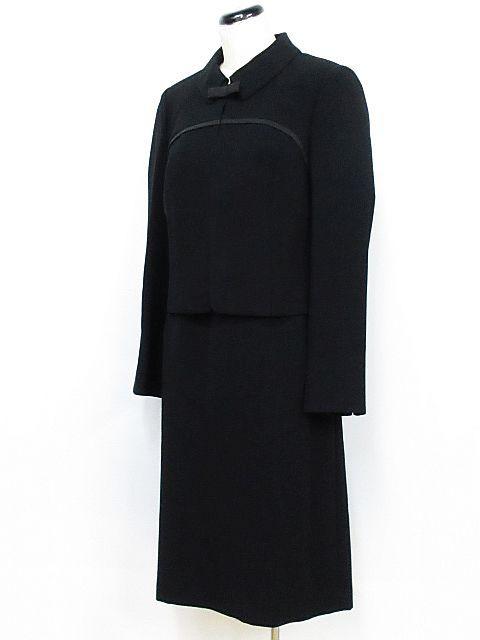 e30875b2602dbb LIUMA イギン ブラックフォーマル 喪服 礼服 アンサンブル ジャケット ワンピース リボン 黒 11AR ※01 レディース