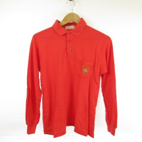 カットソー ポロシャツ 長袖 赤 M *E124 メンズ ...
