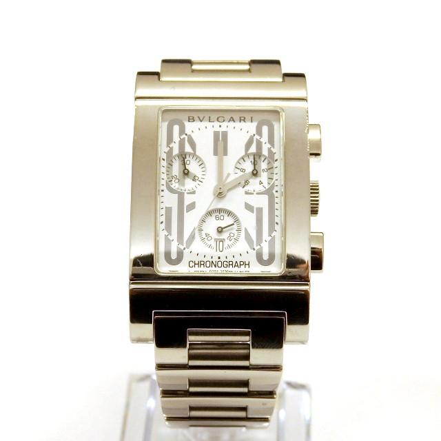 brand new 009c3 9b7d8 【中古】ブルガリ BVLGARI レッタンゴロ クロノグラフ 腕時計 ウォッチ RTC49S クオーツ ホワイト文字盤 白 メンズ|au  Wowma!(ワウマ)