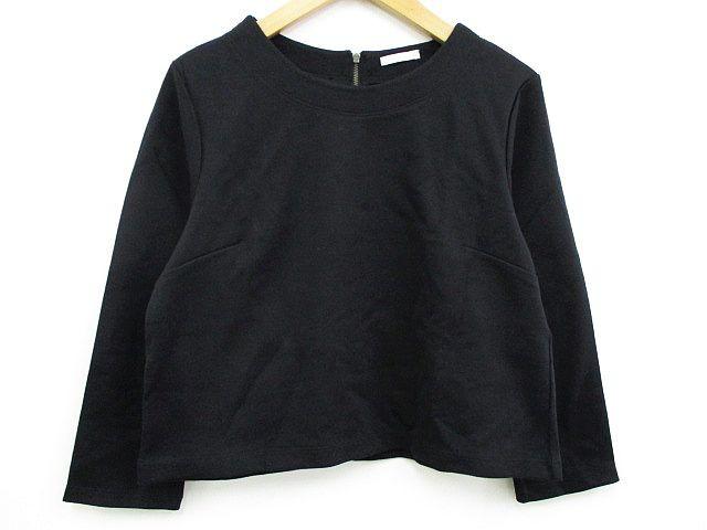 ジーユー GU カットソー Tシャツ 七分袖 丸首 黒 ...