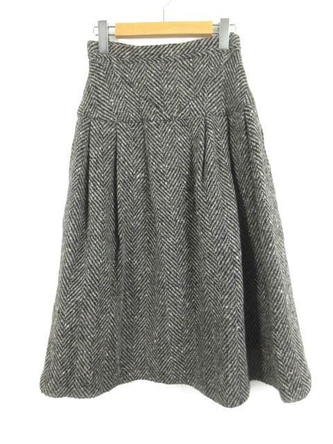 un alpha ロングスカート ツイード ベルト ウール...