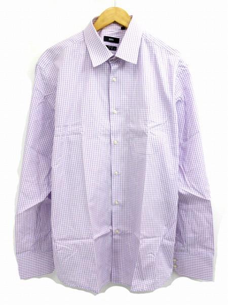 ヒューゴボス HUGO BOSS シャツ 長袖 チェック 紫...